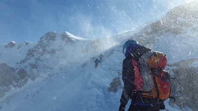 bergsteiger, sturm, schneesturm